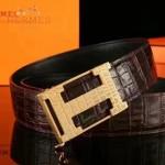HERMES皮帶-011-2 愛馬仕新款雙面帶自動扣原版鱷魚紋牛皮皮帶