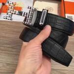 HERMES皮帶-09 愛馬仕新款雙面帶自動扣原版鱷魚紋牛皮皮帶
