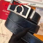Ferragamo皮帶-01 菲拉格慕專櫃男士銀扣牛皮壓花皮帶