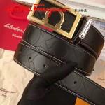Ferragamo皮帶-01-2 菲拉格慕專櫃男士金扣牛皮壓花皮帶