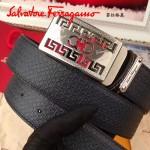 Ferragamo皮帶-02 菲拉格慕男士休閒銀扣進口牛皮壓花皮帶