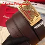 Ferragamo皮帶-02-2 菲拉格慕男士休閒金扣進口牛皮壓花皮帶