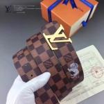 LV皮帶-020-4 路易威登男士動物系列獅子圖案金扣咖啡色棋盤格皮帶