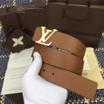 LV皮帶-019-3 路易威登男士雙面用字母扣土黃色原版小牛皮皮帶