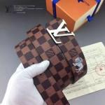 LV皮帶-020-3 路易威登男士動物系列獅子圖案銀扣咖啡色棋盤格皮帶
