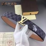 LV皮帶-020-8 路易威登男士動物系列犀牛圖案金扣黑色棋盤格皮帶