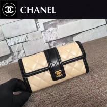 CHANEL 84019 新款原版綿羊皮女士拼色錢包長款