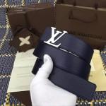 LV皮帶-019-2 路易威登男士雙面用字母扣藍色原版小牛皮皮帶