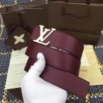 LV皮帶-019 路易威登男士雙面用字母扣紅色原版小牛皮皮帶