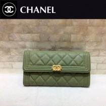 CHANEL 0522 17新款新色橄欖綠進口球紋牛皮2折女士長款錢夾
