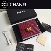 CHANEL 0520-1 人氣熱銷時尚新款原版皮3折V格短夾
