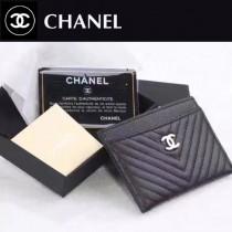 CHANEL 0518 時尚潮流新款原版皮V格黑色簡約零錢包