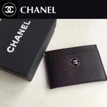 CHANEL 0553 輕便實用黑色細紋魚子醬原版皮卡片夾