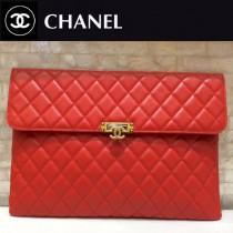 CHANEL 0549-2 人氣熱銷女士紅色球紋原版皮信封大號手拿包