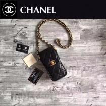 CHANEL 0547 潮流個性黑色原版牛皮手機包可放iPhone7plus