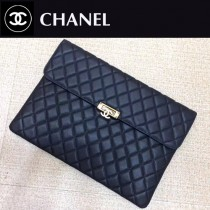 CHANEL 0539 白領必備女士黑色魚子醬原版皮信封手拿包