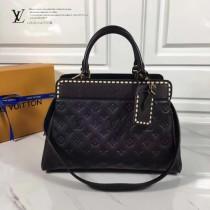 LV M41491-4 春夏新品VOSGES編織風格黑色原版皮中號手袋