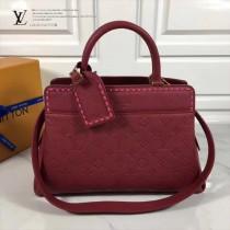 LV M41491-2 春夏新品VOSGES編織風格玫紫色原版皮中號手袋