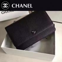 CHANEL 0551 潮流新款女士黑色細紋魚子醬原版皮單肩斜挎包