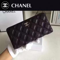 CHANEL 0537 潮流百搭新車線設計黑色原版羊皮拉鏈錢包