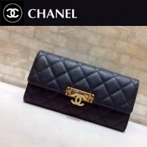 CHANEL 0548 時尚女士新款黑色球紋原版皮搭扣長款錢包