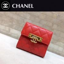 CHANEL 0538-2 宮廷風格紅色魚子醬原版皮三折短款錢包