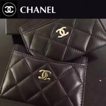 CHANEL 0550-2 輕便實用金銀扣黑色原版羊皮卡片夾