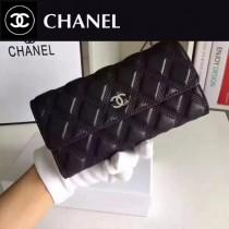 CHANEL 0535 時尚女士新車線設計原版羊皮搭扣兩折錢包