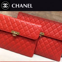 CHANEL 0539-2 白領必備女士紅色魚子醬原版皮信封手拿包