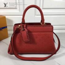LV M41491-3 春夏新品VOSGES編織風格大紅色原版皮中號手袋