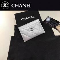 CHANEL 0550 輕便實用銀扣銀色魚子醬原版皮卡片夾