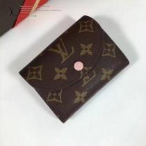LV M60253-5 最新經典款HÉLÈNE芭蕾粉內裡原版皮三折豆豆錢包
