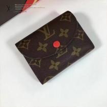 LV M60253-4 最新經典款HÉLÈNE橘紅色內裡原版皮三折豆豆錢包