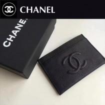 CHANEL 0540 輕便實用雙C logo黑色原版胎牛皮卡片夾