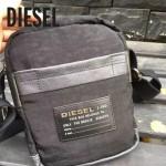 DIESEL-002-2 迪賽輕便百搭男士黑色帆布配皮單肩斜挎包