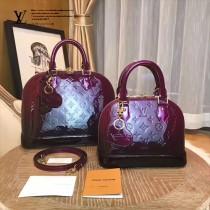 LV M90321 專櫃最新款ALMA原單嫣紫色漸變漆皮壓花大號貝殼包
