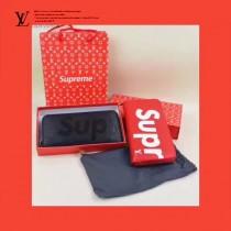 LV-00019 潮人必備LV+Superme合作款ZIPPY黑色原版水波紋長款錢包