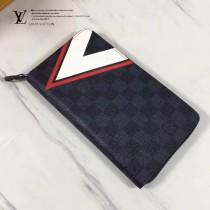 LV N64013 美洲杯系列簡約時尚格紋長款拉鏈錢夾