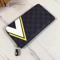LV N64014 美洲杯系列簡約時尚格紋長款拉鏈錢夾