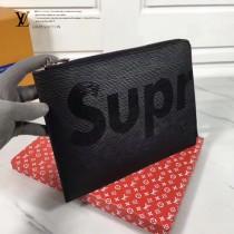 LV-00021 早春新款LV&Superme合作款黑色水波紋原版皮手拿包