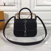 LV M54619-2 春夏新款CHAIN IT鏈條設計黑色原版皮小號手提單肩包