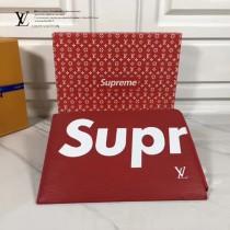 LV-00021-2 早春新款LV Superme合作款紅色水波紋原版皮手拿包