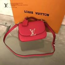 LV M54057-2 春夏秀場新款LV扣紅色原版皮手提單肩包