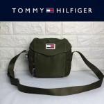 TOMMY HlLFlGER-004-3 時尚百搭軍綠色尼龍面料單肩斜挎包