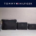 TOMMY HlLFlGER-005-2 輕便實用黑色防水面料手拎包手機包三件套裝