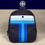 Tory Burch-002 托里伯奇女士新款帆布拼色條雙肩包書包