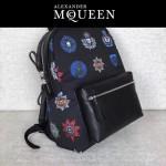 McQueen-01 時尚單品徽章印花尼龍面料配皮雙肩包書包