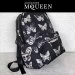 McQueen-02 時尚單品蝴蝶印花尼龍面料配皮雙肩包書包