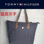 TOMMY HlLFlGER-0014-4 百搭新款藍底灰字帆布單肩購物袋