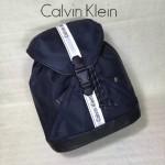 Calvin Klein-017 正品尼龍抽繩口女士休閑雙肩背包深藍色